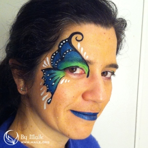 Seahawks butterfly face paint example