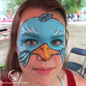 bird mask face paint with logo