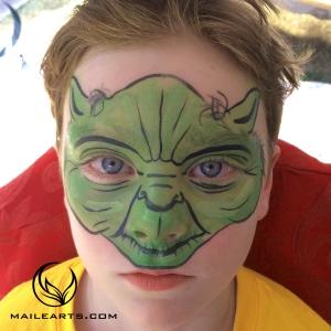 yoda face paint and logo