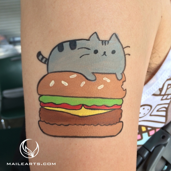 cat and hamburger face paint with logo
